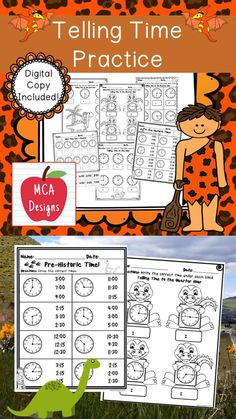 Oct 12, 2020 - This resource features various activities to help your students grasp a better understanding of how to tell time. Each worksheet is accented with fun dinosaur graphics!This product includes:Making a clock - students will assemble their own clocks. I have included two versions depending upon the need...