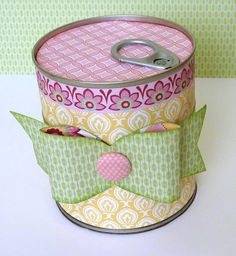 Altered pop-top can...love this surprise idea.