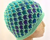 Crochet Dark Sea Green and Multiple Ocean Shades of Blue, Green and Purple, Textured, Beanie Hat for Women, Tweens, Teens