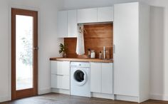 Stunning Classy Laundry Room Update Showing Off Minimalist & Modern Interior Des… Laundry Nook, Laundry Closet, Laundry Room Storage, Small Laundry, Laundry In Bathroom, Compact Laundry, Wood Bathroom, Bathroom Vanities, Bathroom Renovations