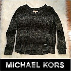 """NWT Michael Kors Hi-low Metallic Sweater MEDIUM B16-378-CT12- NWT Michael Kors Sparkle Hi-low Metallic Sweater MEDIUM – MSRP $89.50 / Approx. Measurements: Length-22"""" / Bust-21"""" / Sleeve-27"""" – Light weight, and perfect for a holiday party or gift! Michael Kors Sweaters"""