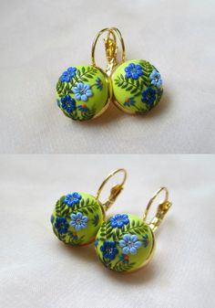 Earrings for Her Polymer Clay Embroidery Flowers by Lena Handmade Jewelry
