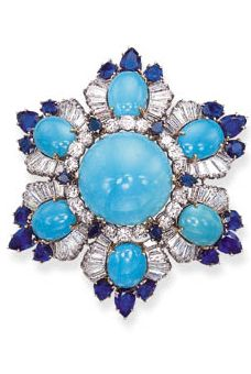 TURQUOISE, SAPPHIRE, AND DIAMOND BROOCH BY HARRY WINSTON.