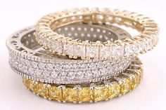 mix n match stackable cz full eternity bands in solid 14 karat white or yellow gold, from Orleansjewels.com