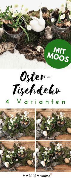 Charming Tisch Dekoration Aus Der Natur Für Den Frühling Oder Ostern Basteln Mit  Moos, Holz
