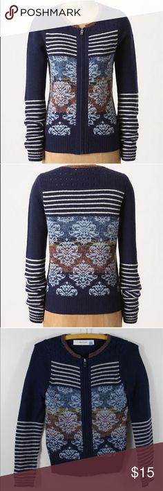 """Anthropologie Arras Cardigan by Sparrow Blue xs Excellent condition. Sparrow's zip-up sweater blurs the line between femme and preppy with jacquard tapestry motifs and stacks of skinny stripes.   Zip front  Wool, nylon, mohair  Dry clean  22.5""""L  Imported Anthropologie Sweaters Cardigans"""