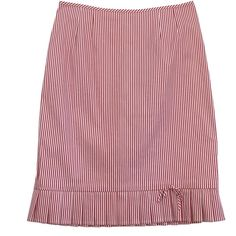 Pre-owned Nanette Lepore Red & White Striped Cotton Skirt ($69) ❤ liked on Polyvore featuring skirts, red cotton skirt, white pleated skirt, striped cotton skirt, red pleated skirt and nanette lepore skirt