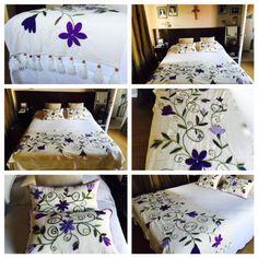 Pie de cama y almohadones en violetas www.facebook.com/bordados.ines1 Tambour Embroidery, Embroidery Art, Embroidery Stitches, Embroidery Patterns, Mexican Style Decor, Wicking Beds, Bed Cover Design, Housewarming Decorations, Mexican Embroidery
