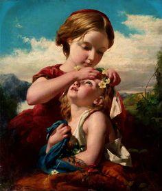 The Time of Primroses, 1854 by Robert Herdman (Scottish 1829-1888)
