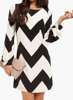 Black & White Chevron Chic Dress, Dress, chevron, Chic remindes me of Brit Cute Dresses, Cute Outfits, Dresses 2013, Girls Dresses, Winter Girl, Chevron Dress, Trendy Clothes For Women, Chic Dress, Classy And Fabulous