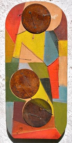 Edgar Soberon  Collage Metal, wire and paint on wood 1980s