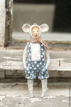 Купить Ватная игрушка на ёлку Мышь - серый, мышь, ёлочные игрушки, новогодний подарок, дети