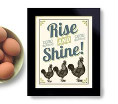 Rooster Kitchen Decor | Roosters Kitchen Decor Art Print Good Morning by DexMex on Etsy