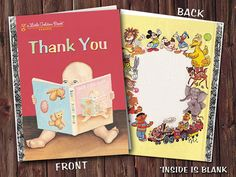 Little Golden Book Thank You Card by RaeHeartsDesign on Etsy, $1.95
