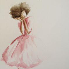 The talented debra cartwright @beginningkisses. water colors illustration. afro hair art.