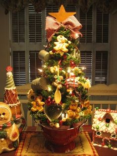 kitchen christmas tree | Gingerbread Kitchen Tree in Red Colander | Christmas Trees by norma