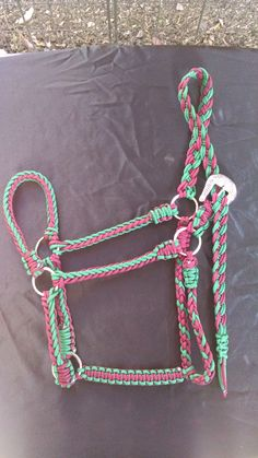 Paracord Standard Size Horse Halter-$30 Burgundy/ Kelley Green Available@ GypsysEquinePARATack.etsy.com
