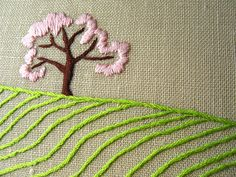APPLE TREE IN THE FIELDS - SPRING hand embroidered original wall art - Close-up View