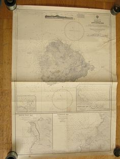 Original British Admiralty Sea Chart - South Atlantic Ocean Island Of Ascension (Originally Published at the Admiralty 18th January 1910) Corrections to 1969 Circa 1973  A highly prized and collectable superb Gift for a Yachtsman  A fantastic totally original sea chart (not modern reprint) that would look superb, framed and hung in a contemporary apartment, house in any classical study. This chart was acquired from an antique sale in western England with many others from around the world and…