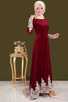Dantel Detay Kuyruklu Kadife Abiye Elbise Bordo Ürün Kodu: YGS6002 --> 149.90 TL