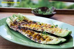 Grilled zucchini with garlic marinade - Recipe Grilled Zucchini, Barbecue, Side Dishes, Sandwiches, Food And Drink, Nutrition, Vegan, Vegetables, Cooking