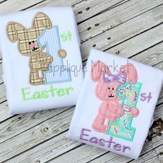 Applique Market has a wonderful selection for all of your holiday custom design needs. Create a festive Easter outfit with this my first Easter boy & girl set applique design.