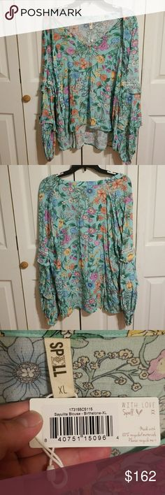 Spell & The Gypsy Collective Sayulita Blouse XL Spell & The Gypsy Collective Sayulita Blouse XL in Birthstone. NWT and only tried on. Please see the photos provided and ask any questions prior to purchasing. The price is FIRM due to what I paid plus POSH fees. I also have the Mini listed. Spell & The Gypsy Collective Tops Blouses
