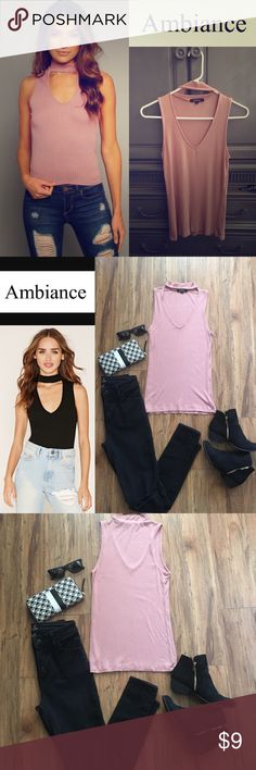 Choker Ribbed Tank Ambiance Choker Ribbed Tank Top. Size: Small Pink/ Mauve in color.95%Rayon 5%Spandex. Super cute on! Wore once, I'm just not a pink kinda gal. :) Looks cute with jeans,shorts, or a long skirt. Thanks for looking! Ambiance Tops Tank Tops