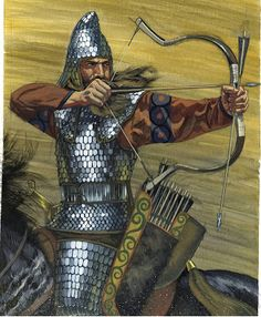 Scythian warrior with scale armor. Ancient Rome, Ancient Art, Ancient History, Persian Warrior, Sword And Sorcery, Arm Armor, Central Asia, Inspiration, Archery