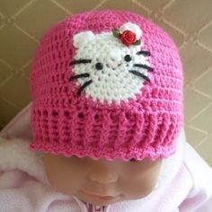 CROCHET PATTERN Hello Kitty Baby Hat Pattern by hollanddesigns, $4.99