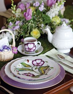 Elegant Easter place setting inspiration. And, of course, it's not a tea table without a teapot and teacups. Choose a pretty embossed teapot in white or one that matches your china pattern. http://www.teatimemagazine.com/set-pretty-table-easter/?singlepage=1