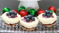 The fresh blueberries cut through the richness in these scrumptious little cheesecakes.