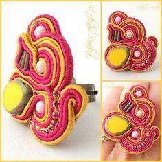 ZoknisPanka Gyöngyei: Sárga-pink sujtás Kirké gyűrű - Az első sujtásos próbálkozás - Yellow-pink Kirké soutache ring - My first soutache