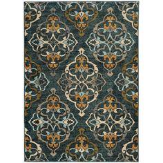 Oranate Quatrefoil Blue/ Gold Rug (7'10 x 10'10)