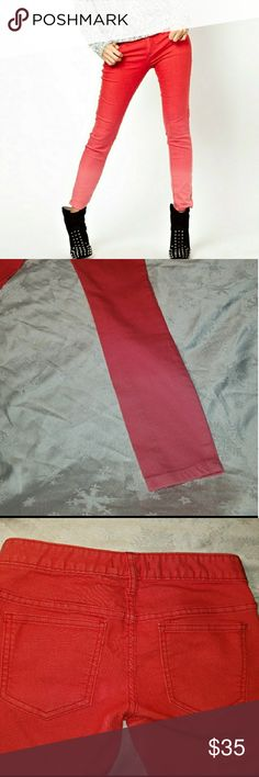 Free People Ombre Free People Ombre Skinny jeans, red and coral. Great condition Free People Jeans Skinny