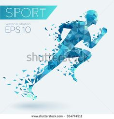 Running man from triangles, low poly style, eps 10 - stock vector Gym Design, Icon Design, Running Man Logo, Runner Tattoo, Gym Architecture, School Murals, Sports Wall, Low Poly, Logo Design Inspiration