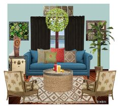 Naturally Modern by chromelabm on Polyvore featuring interior, interiors, interior design, home, home decor, interior decorating, Crate and Barrel, Tommy Bahama, Stray Dog Designs and MOSAIK