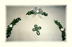 Dekoration - 3tlg Ehrenplatzranke Tischdeko Kommunion Konfirmat - ein Designerstück von Blumeneri bei DaWanda