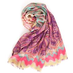Get happy with a new twist on traditional paisley, rendered in peppy purple, pink, and aqua on our lightweight viscose scarf.