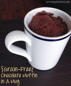 EASY 2 minute grain-free muffin in a mug recipe!  So delicious and HEALTHY!