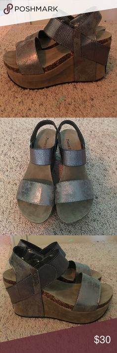 32cb8ae7cf38a Shop Women s Pierre Dumas Silver Tan size 6 Wedges at a discounted price at  Poshmark. Description  Never worn!