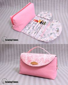 Pochette maquillage Sewing Basics, Sewing Hacks, Sewing Tutorials, Sewing Crafts, Fabric Crafts, Sewing Ideas, Sewing Projects, Sewing Makeup Bag, Diy Makeup Bag