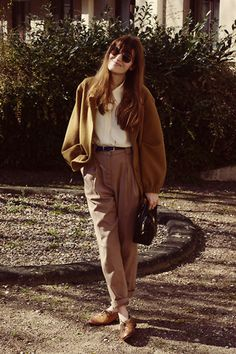 Discover this look wearing American Apparel Blazers, American Apparel Pants, Vintage Bally Loafers tagged brown, high waist - VDM by LadyMoriarty styled for Androgynous, Everyday in the Spring Look Retro, Look Vintage, Vintage Mode, Look Fashion, 90s Fashion, Womens Fashion, Fashion Dresses, Feminine Fashion, Boyish Fashion