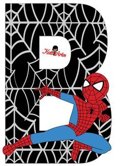 Baby Spiderman, Spiderman Theme, Scrapbook Letters, Power Ranger Party, Party Props, Letter B, Superhero Party, Letters And Numbers, Coloring Pages