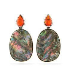 Silvia Furmanovich - Brincos Placa de Opala. Fire opal and opal earrings #AustraliaOpal.com.au