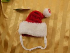 Dog Cat Christmas Talking Santa Hat with Velcro & Elastic Chin Strap Small New #TopPaw