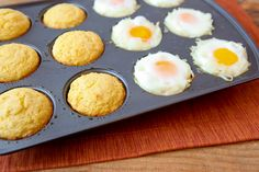 Eggs and Muffins all at once.  (I might add some crumbled bacon...)  The entire meal is made all at the same time in a 12 cup muffin pan.  In fact, you can make this easy meal in about 20 minutes with only 4 ingredients!