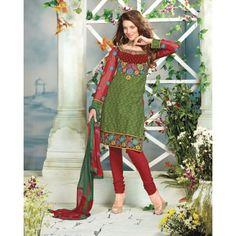 Lovely & beautiful valvet neck work with green salwar suit