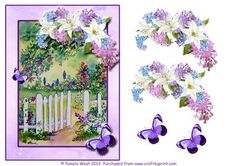 Garden gate with flowers and butterflies decoupage on Craftsuprint designed by Pamela West - Garden gate with Flowers and butterflies decoupage sheet. Made from one of my watercolour paintings - Now available for download!