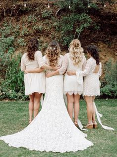 Boho chic lace bridesmaid dresses: http://www.stylemepretty.com/california-weddings/malibu/2016/05/20/think-your-bridesmaids-cant-wear-white-think-again/ | Photography: Mariel Hannah - http://www.marielhannahphoto.com/